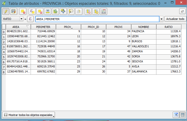 Field calc bar in attribute table