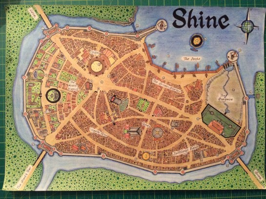 The Human Merchant city of Shine (DnD map). Drawn in crayon and pen/cil