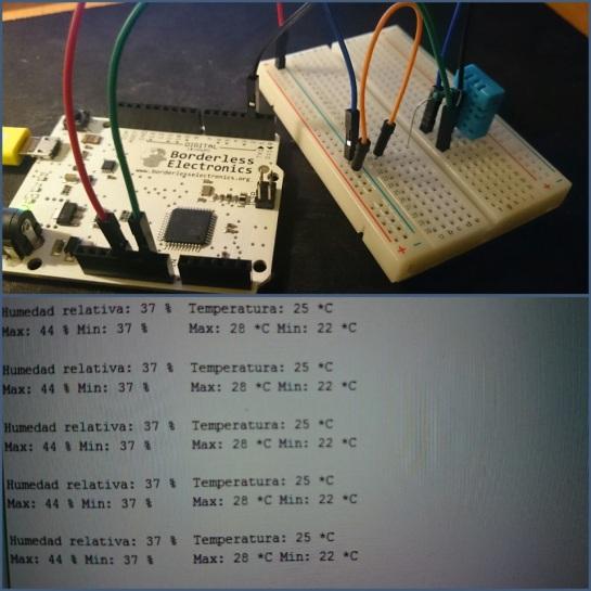 Sensor de humedad y temperatura funcionando, mostrando los valores por consola (siempre la placa conectada al pc)