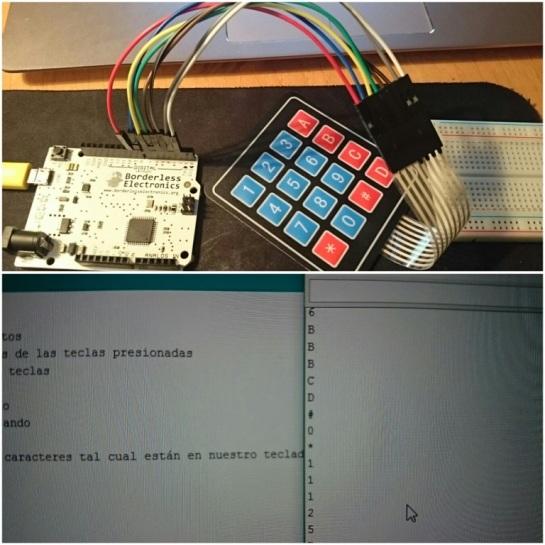 Lo mismo, haciendo funcionar un teclado matricial sobre la placa.